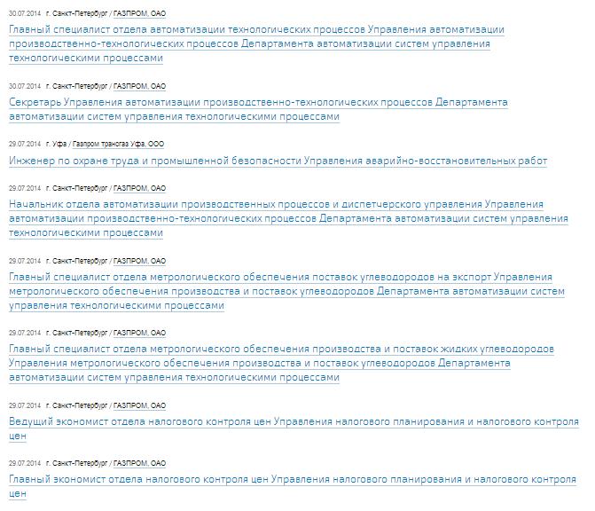 Свежие вакансии в Газпром, работа постоянная и вахта