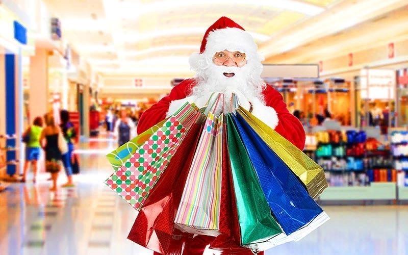 Дед Мороз с подарочными пакетами