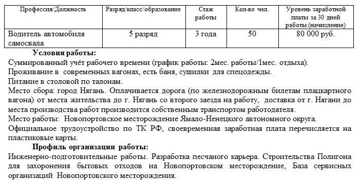 Работа вахтой для водителей, к Силе Сибири не относятся