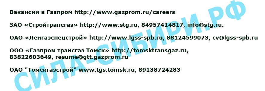 Список - подрядчики строительства газопровода сила сибири, вакансии открыты